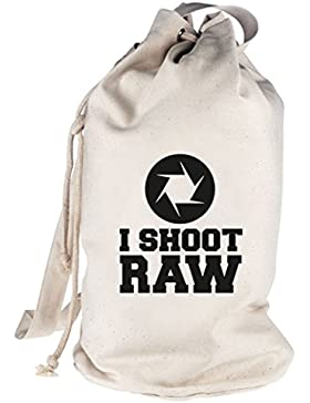 Shirtstreet24, I SHOOT RAW, Kamera Camera bedruckter Seesack Umhängetasche Schultertasche Beutel Bag