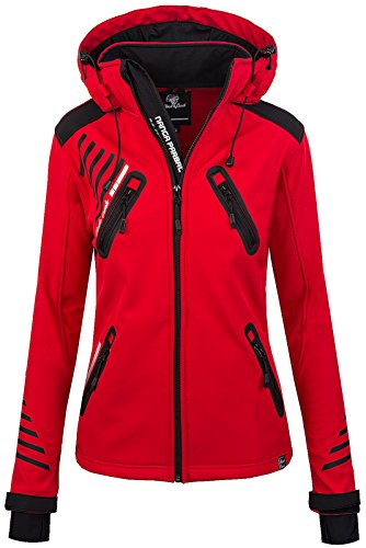 Rock Creek Damen Softshell Jacke Outdoorjacke Windbreaker Übergangs Jacke [D-390 Red XL]
