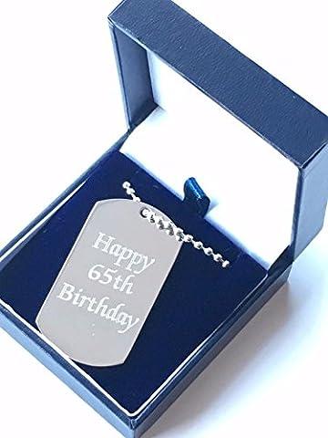 personnalisé gravé Happy 65e anniversaire Pendentif en acier inoxydable + Box (157)