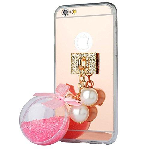 Spritech (TM) fahion Cellulare, Oro a Specchio morbida per smartphone con una bella Sabbia Ciondolo Accessary pink