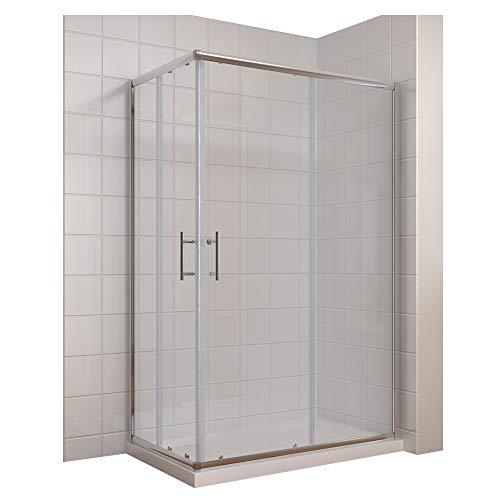 duschwanne 120 Duschkabine 120x90cm Eckeinstieg Doppel Schiebetür Echtglas Duschwand Duschtür Duschabtrennung