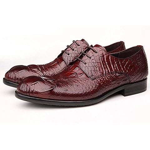 WZG patrón de zapatos de vestir de los hombres de negocios de cuero de cocodrilo de los hombres de los zapatos de encaje zapatos planos acentuados 9.5 , red , 39