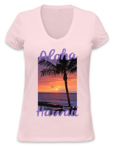 Hawaii Sunset Womens V-neck T-shirt Medium (T-shirt Rosa Hawaii-womens)