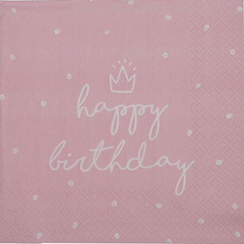 khevga Servietten aus Papier Geburtstag Happy Birthday weiß rosa Set (40)