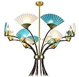 Beaucoup de lustres en tête de style japonais salon de création restaurant café magasin de vêtements vent industriel lustre lustre éclairage 9 têtes E14 (B): B)...