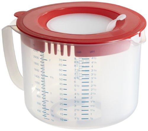 Dr. Oetker Mess- und Rühr-/Mess-/Rührbecher, 2,2 L, mit unterschiedlichen Messskalen, mit Spritzschutz, aus hochwertigem Kunsstoff, Menge: 1 Stück, Farbe: rot/transparent