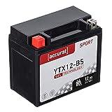 Accurat Motorradbatterie YTX12-BS 12Ah 180A 12V...