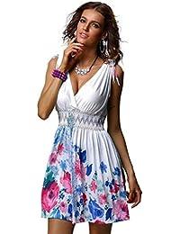 3151650211 Mujeres Verano Floral Fiesta En La Tiras Playa Profundo Mode De Marca  Escote En V Corto Mini Vestido De Las Señoras…