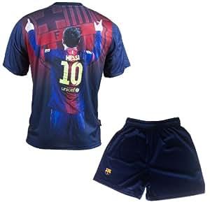 Ensemble Maillot + short Barça - Lionel MESSI - Collection officielle FC BARCELONE - Taille enfant garçon 14 ans