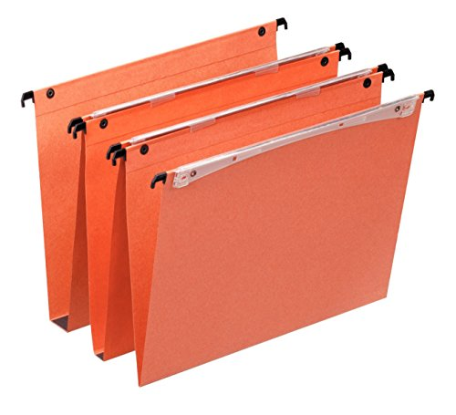 Esselte Dossier Suspendu Vertical, Fond V, A4, Lot de 25, Onglets inclus, Orange, Orgarex, 21631
