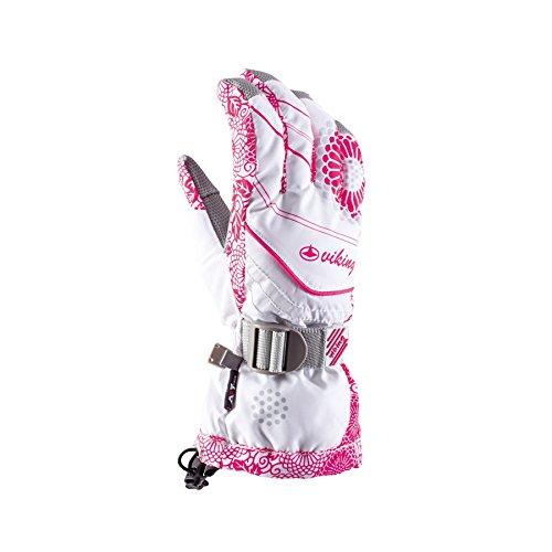 Viking Drift Damen Skihandschuhe Atmungsaktiv Warm Ski Snowboard Handschuhe - Weiss-rosa, 8