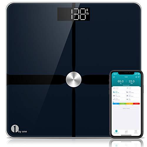 1 byone ITO Körperfettwaage, Bluetooth Digital Personenwaagen Körperanalysewaage Körperwaage, Körperzusammensetzung BMI-Analysator mit Smartphone App, Körpermaßband enthalten, 180kg/400lb (Schwarz)