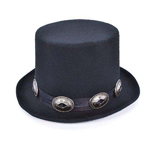 Adults 1980's Rocker Slash Style Black Top Hat Fancy Dress Accessory