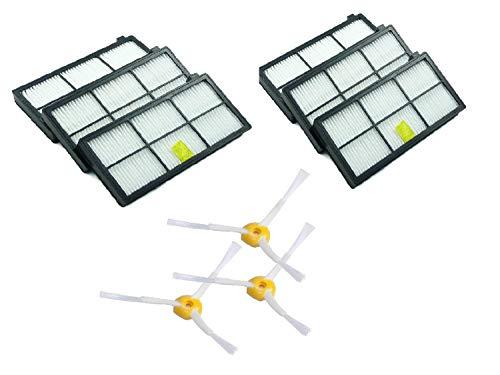 MaxDirect Kit Recambios de 6 Filtros y 3 Cepillos de 3-Armado para iRobot Roomba Serie 800 y Serie 900.