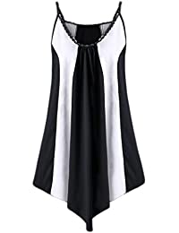 Hot Sale! Kanpola Fashion Womens Sequins Splice Casual Plus Size Sleeveless Two Tone Patchwork Irregular Sling Dress
