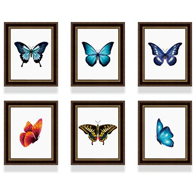 l Set American retro Schmetterling Foto 6 x 10 inch Wall Box Kombination aus Frame Wand Wohnzimmer Studie maroon farbige Muster ()