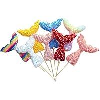 Toyvian Sirena Cola de pescado Glitter Cake Toppers Diseño Cupcake Decoración Frutas Selecciones Fiesta de cumpleaños