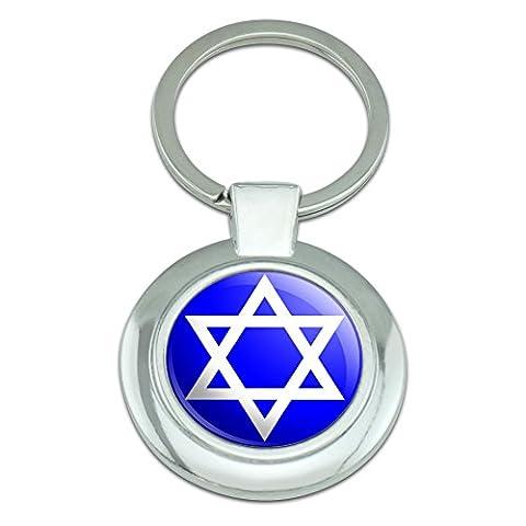 graphique et plus étoile de David juive Shield Classy rond en métal chromé Porte-clés