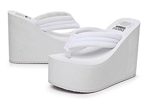 Good Night puro colore donne semplici della moda super high Infradito Thongs Bianco