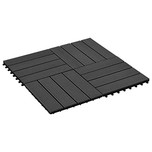 mewmewcat 11 Unidades Suelo Exterior de WPC Resistentes al Agua Baldosas Terraza Exterior para Porche Patios Balcones Baños Piscina o SPA 30x30cm 1m² Negro