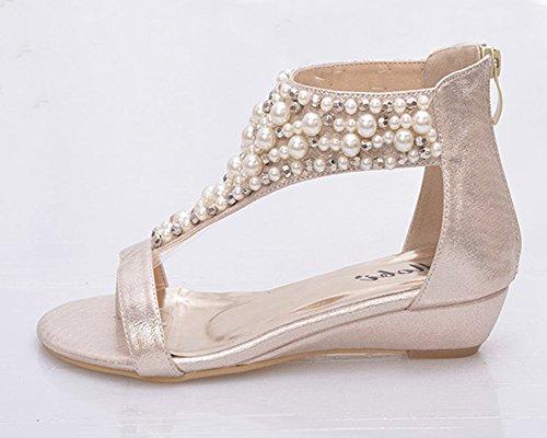 Donna Sandali Con Zeppa E Strass Boemia Clip Toe Scarpe Flip flop Sandali Oro