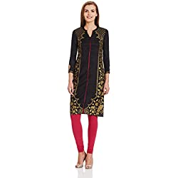 Aurelia Women's Straight Kurta (16AUK12811-61683_Black_Small)