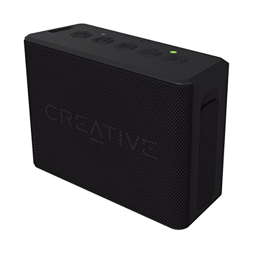 Creative MUVO 2c Leistungsstarker (Kompakter Wetterfester Wireless Bluetooth Lautsprecher für Apple iOS/Android Smartphone, Tablet/MP3) schwarz (160g Mp3-player)