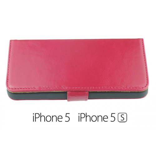 OBiDi - Doux Flip Premium Simili Cuir Cas de Couverture / Housse pour Apple iPhone SE / Apple iPhone 5S / 5 - Jaune Hot Pink