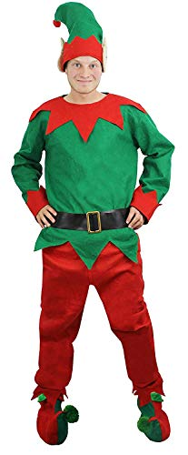 FANCY DRESS HERREN KOSTÜM ELF, MOTIV CHEEKY ELF TOP HOSE, GÜRTEL, HUT, SCHUHE MIT POM POM, XS, XXL