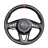 Coprivolante Per Auto, Nero Coprivolante In Pelle Artificiale Per Mazda 3 Axela Mazda 6 Atenza CX-3 2018-2019 CX-5 2017-2019 CX-9 Toyota Yaris (Color : Black thread)
