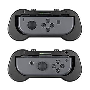 Zecti Joy-Con-Griff für Nintendo Switch, Ersatz Schutzhüllen-Kit für Joy-Con-Controller, Ergonomischer Design-Komfort-Grip-Kits mit 2 Handschlaufen (2 Stück, schwarz