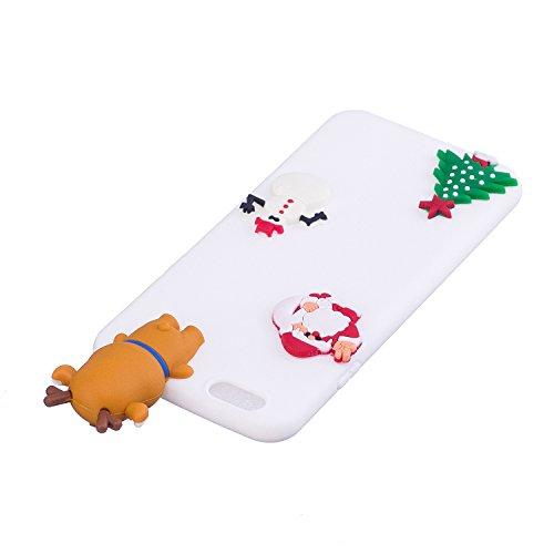Coque iPhone 6 , iPhone 6S Etui Housse en Silicone Gel TPU Case Cover Christmas Noël 3D Cartoon Animaux Mignons Père Noël et Cadeau Chaussettes Motif Etui Bumper Case Flexible Souple Ultra Mince Houss Blanc