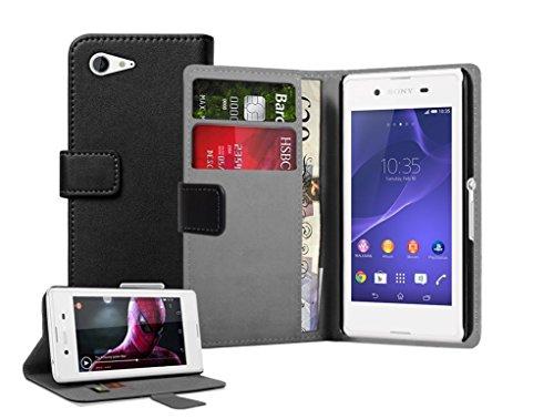 Membrane - Schwarz Brieftasche Klapptasche Hülle Sony Xperia E3 (D2202, D2203, D2206, D2243, E3 Dual D2212) - Wallet Case Cover Schutzhülle + 2 Displayschutzfolie