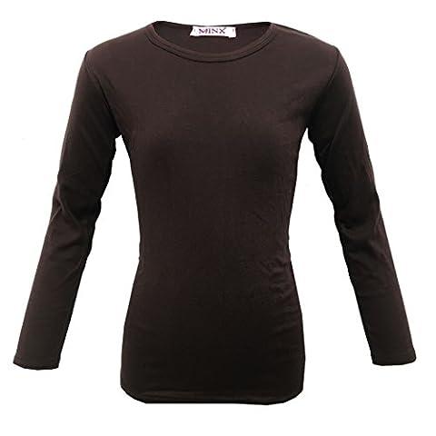 MINX Girls Plain Long Sleeve Kids Top Children Crew Neck T-Shirt Age Dark Brown 2-13 Year
