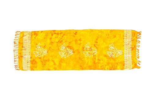 ManuMar Damen Sarong | Pareo Strandtuch | Leichtes Wickeltuch mit Fransen-Quasten Mini-Rock 55x155 cm Gelb Schmetterling