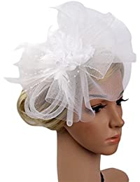 Voberry- Fashion Wedding Mesh Hat Fascinator Ribbon Feather Cocktail Tea Party Headwear