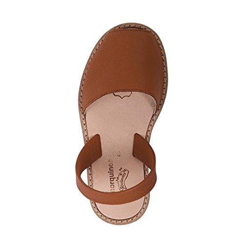 Minorquines - Sandales Avarca Velvet Cuero - Enfant Marron