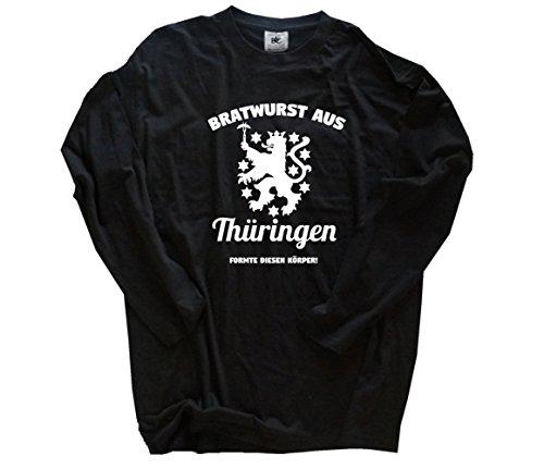 Shirtzshop Bratwurst aus Thüringen formte diesen Körper - Grill BBQ Party Longsleeve-T-Shirt Schwarz L -