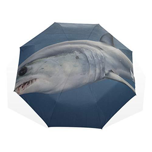 Reiseregenschirm Big Swimming Shark In The Sea Anti-UV-Kompakt 3-Fach Kunst Leichte Klappschirme (Außendruck) Winddicht Regen Sonnenschutzschirme Für Frauen Mädchen Kinder -