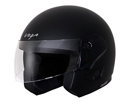 Vega Cruiser Open Face Helmet (Dull Black, M)