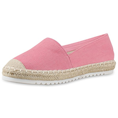 Damen Espadrilles Metallic Slipper Bast Profilsohle Flats Schuhe Pink