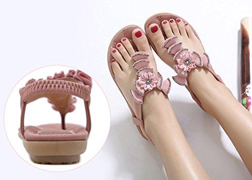Zicac Damen Sandalen Bohemian Blumen Sandalen Strass Flip Flop Strandschuhe Sommer Antirutsch Elastische Schuhe Rosa