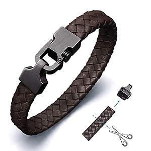 Amtier Armband Männer Leder Einstellbarem mit Geschenkbox, Herren Geflochtenes Armbänder mit Push-Lock-Verschluss – 21cm