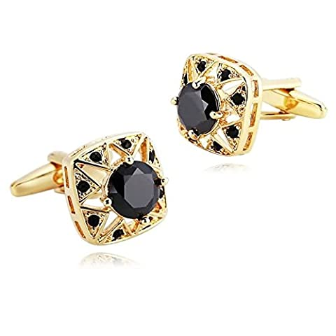 AMDXD Jewelry Stainless Steel Cufflinks for Men Square Cubic Zirconia Gold Black Cuff Links 1.5X1.5CM