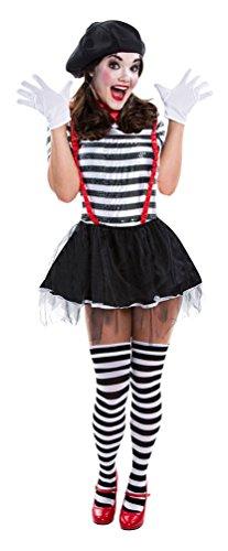 (Karneval-Klamotten Kostüm Mime Artist Pantomime Pierrot Kostüm Mime Artist Dame Zirkus schwarz-weiß-rot Damen Größe 44/46)