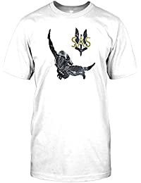 SAS - Special Air Service Soldier and Excalibur Wreathed in Flames Mens T Shirt - Military