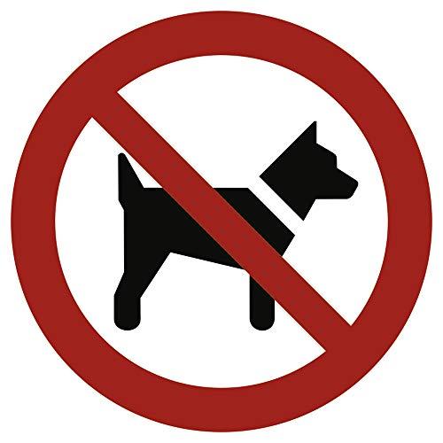 Schild Mitführen von Hunden verboten gemäß ASR A1.3 / DIN 7010 Alu 20 cm Ø (Hundeverbot,...