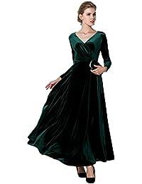 e0d210af6123ea Urbancoco Damen Lange Langarm Abendkleid Maxi V-Ausschnitt Samt Party Kleid