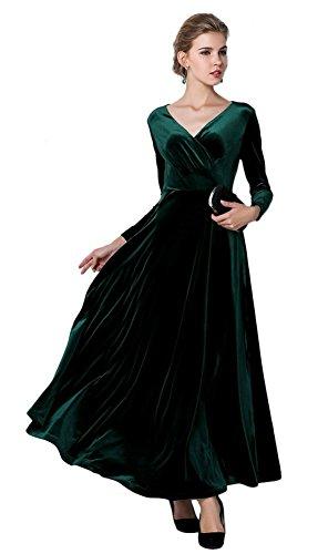 Urbancoco Damen Lange Langarm Abendkleid Maxi V-Ausschnitt Samt Party Kleid (S, grün)