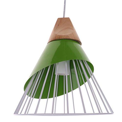 Homyl Abat-jour Suspension avec Ligne Lampe au Plafond Cage en Fer Lustre Décoration Chambre Salon Couloir Escalier - Vert
